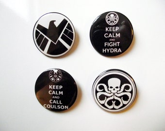 Agents of SHIELD Badges/Fridge Magnets - Keep Calm and Call Coulson - SHIELD logo - Hydra Logo