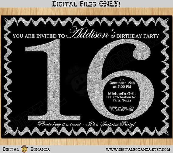 16th Birthday Invitation Silver Glitter Party Invite Sweet