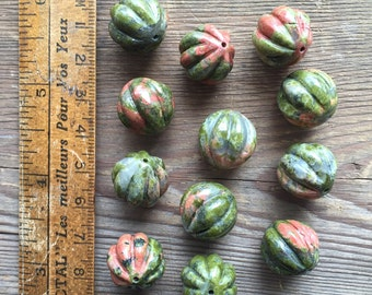 Large unakite pumpkin shaped carved beads
