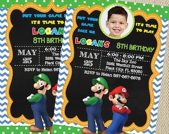Super Mario Invitation with photo - Super Mario Birthday Party Invitation - Super Mario Printables - Super Mario Birthday PE853