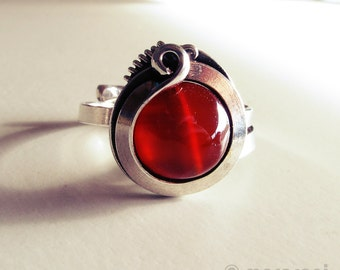 Ring ethnic agate carnelian - old silver plating - orange-