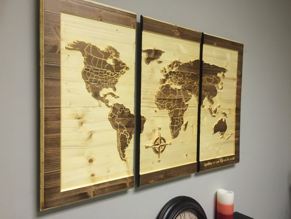 Wood wall art carved world map home decor customize by