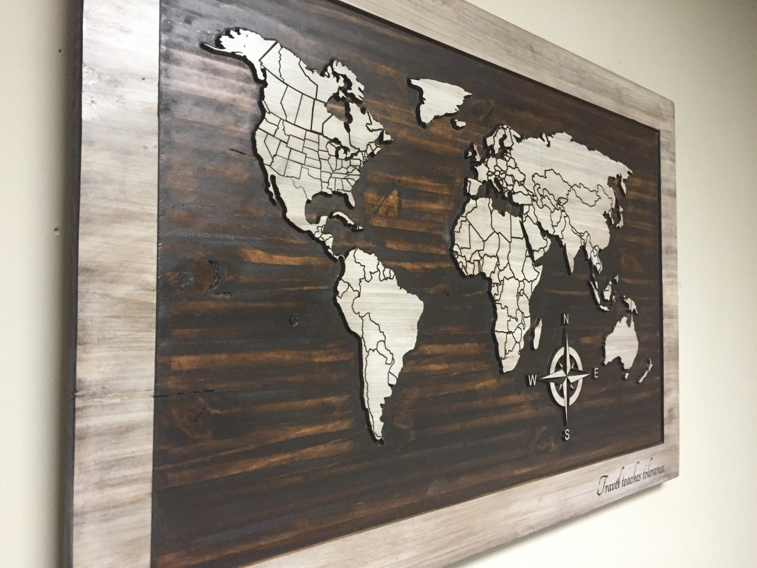 World map wood wall art carved home decor by