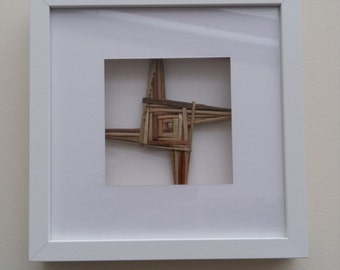 St Bridget Cross in Photo Frame Real  Straw Cross Rushes from Ireland  with free complimentary Irish blessing bookmark with every order