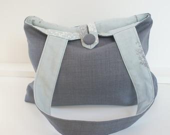 Small grey and blue handbag