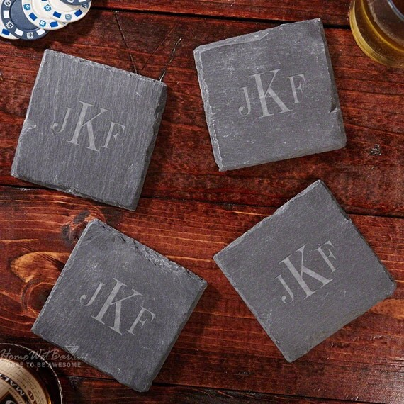 Classic monogrammed slate drink coasters personalized with - Slate drink coasters ...