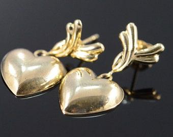 14K Heart Dangle Stud Earrings Yellow Gold - EM1692