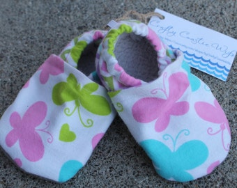 Pastel Butterflies and Chevron slippers