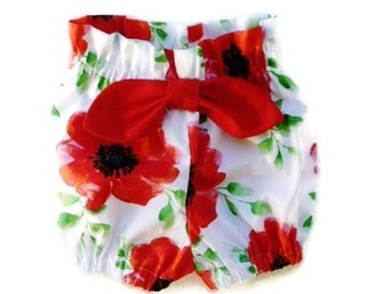 Girls bloomers,  Baby girls clothing,  Red poppy High waisted bloomers, size NB,3,6,12 months, Red bloomers for baby girls
