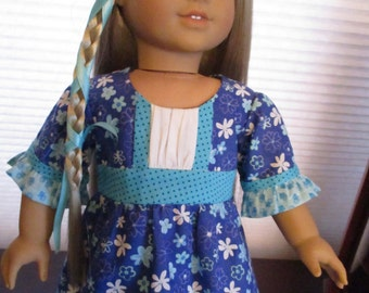 """Blue Print Doll Dress in 1970's Styling to fit your 18"""" American Girl Doll"""