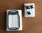 Mason jar stamp, firefly stamp, mason jar rubber stamp, fireflies rubber stamp, handmade stamp, custom stamp