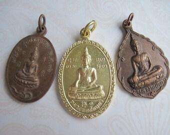Buddhist Pendants Amulets, Buddhist Amulets, Spiritual Pendants, Spiritual Charms, Set of 3