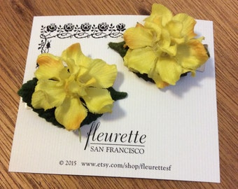 YELLOW Set of 2 Lovely and Silky Floral Delphinium Bloom Flowers Hairclip... Wedding... Bridal... Bridesmaids... VLV... Hair Clips
