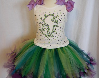 The Little Mermaid Ariel Inspired Tutu Set; Disney Princess Dress; Little Mermaid Birthday Tutu Dress set; Little Mermaid Birthday Outfit