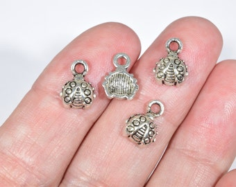 12 Silver bug charms | silver lady bug charms | small silver beetle charms | small insect charms | nature charms | summer charms | SC1459