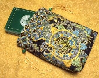 Drawstring Bag, Tarot Bag, Tarot Pouch, Tarot Card Holder, Oracle Card Bag, Metallic Damask
