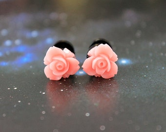 Pretty flowers plugs  gauges 4mm 6G stretched ears pastel pink