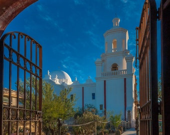 "Mission San Xavier ""Gateway to Desert Sky"" Fine Art Photograph (9.5"" x 13.25"" print on 14"" x 18"" archival board) Limited Edition Signed"