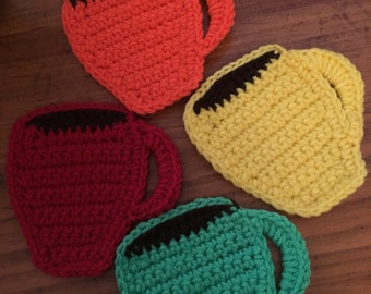 Coffee Cup Coasters/Handmade crochet Coasters/Set of 4 Coasters/Drink Coasters/Coffee Cup Mug Rug/Red Yellow Green And Orange  Coaster Set