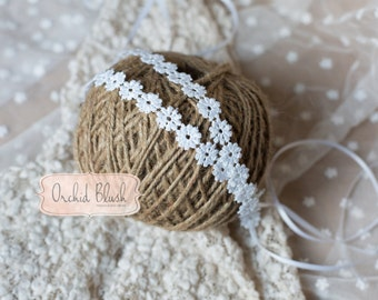 Handmade white daisy tieback. Photography prop