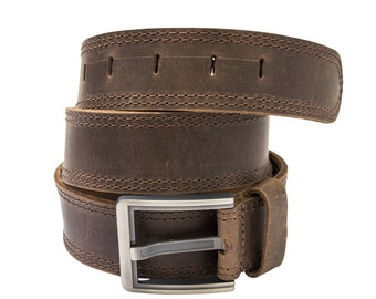 Men's Two Row Stitch Leather Belt- Handmade by Hide & Drink-Size Options