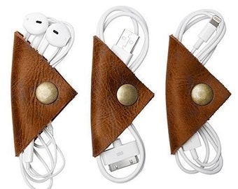 Rustic Cord Keeper (Cord Wonton) Leather Cord Organizer 3-Pack Handmade by Hide & Drink