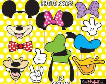 MICKEY MOUSE Photo Booth Props, Mickey Mouse birthday, Mickey Mouse party, Digital Files, Mickey Mouse printables, Mickey Mouse Clubhouse