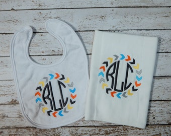 Shower gift; Baby boy bib and burp set; infant boy 2 piece set; baby boy gift set; baby boy shower gift; Baby bib; Baby boy burp cloth