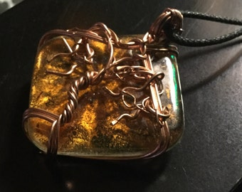 Hidden Forest - wire wrapped pendant