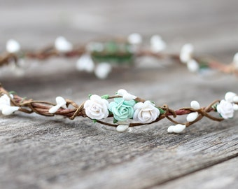 Rose Mint Flower Girl Crown, White Flower Crown, Wedding Headband, Floral Crown, Rustic Bridal Headband, Girls Flower Hair Wreath, Halo