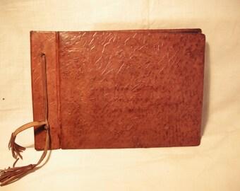 Vintage 1970's Handmade Brown Leather Photo Album - NEW