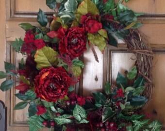 Fall Wreath, Autumn Wreath, Jeweled Toned Wreath, Front Door Wreath, All Seasons Wreath, Christmas Wreath, Indoor Wreath, Wall Decor