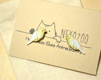 Cockatiel earrings handmade Tiny jewelry with linen cotton bag