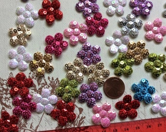 """SET of 20 7/8"""" Assortment of Colors with Sequin Flower Padded Appliques"""