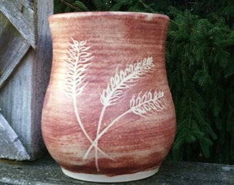One of a kind hand carved wheel thrown mug