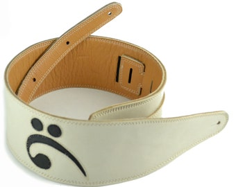 "White Leather Bass Guitar Strap Handmade With Black Bass Clef Design 3 1/2"" Wide A2-819-1C"