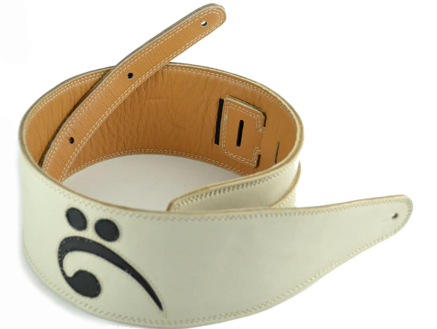 white leather bass guitar strap handmade with black bass clef. Black Bedroom Furniture Sets. Home Design Ideas