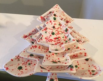Mid Century Chalkware Stacking Xmas Tree Dishes