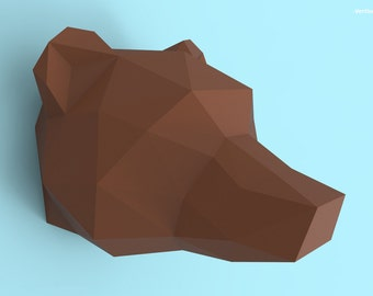 Grizzly Bear Head Papercraft PDF Pack