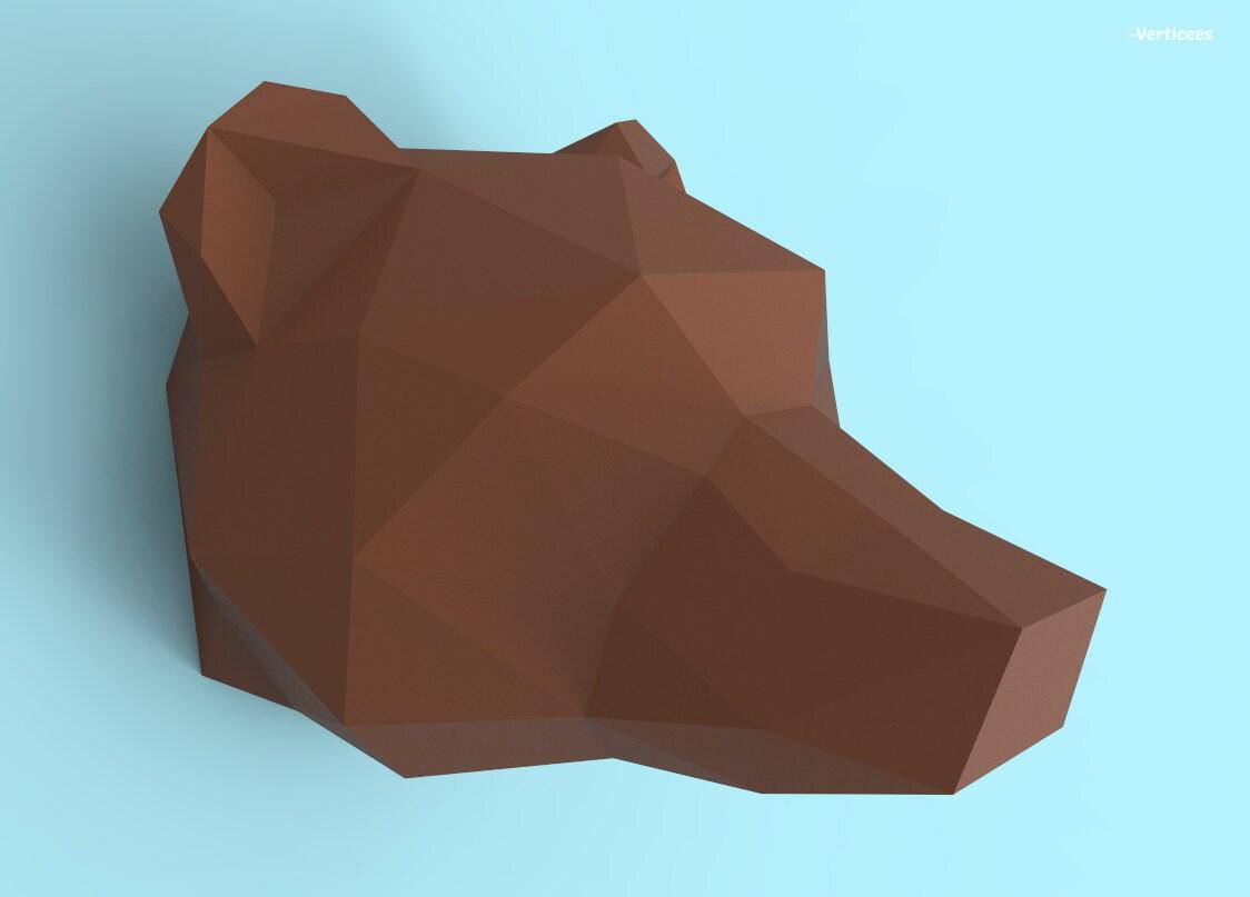 Grizzly Bear Head Papercraft Pdf Pack 3d Paper Sculpture