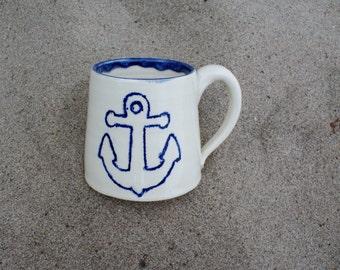 Large Blue Anchor Pottery Mug