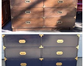 Campaign Dresser Portfolio   Glossy Painted Vintage Furniture