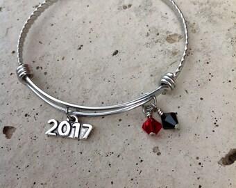 2017 Graduation Bangle (pick your school colors) - Expandable Silver Bangle Bracelet
