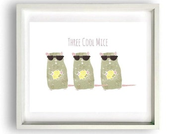 Three Cool Mice Little Ones Print