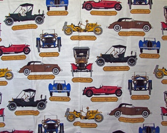 Vintage Mid Century  Schumacher Fabric Screen Print Horseless Carriage Ralph Stern Vintage Cars Automobile Cadillac Roaster Model T Ford