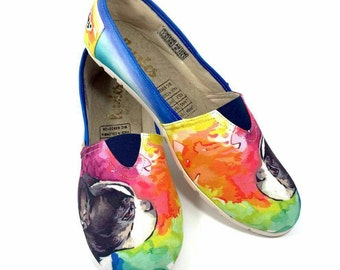 BOSTON TERRIER SHOES, pet lovers, women shoes, dog breeds, Dog Lovers, Animal Lovers, Boston Terrier, hush puppies, puppies, dog rescue