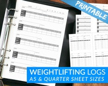 Weightlifting Workout Journal Log Tracking Pages - Printable PDF - Powerlifting, Strength Training, Crossfit, Fitness - A5 & Quarter Sizes