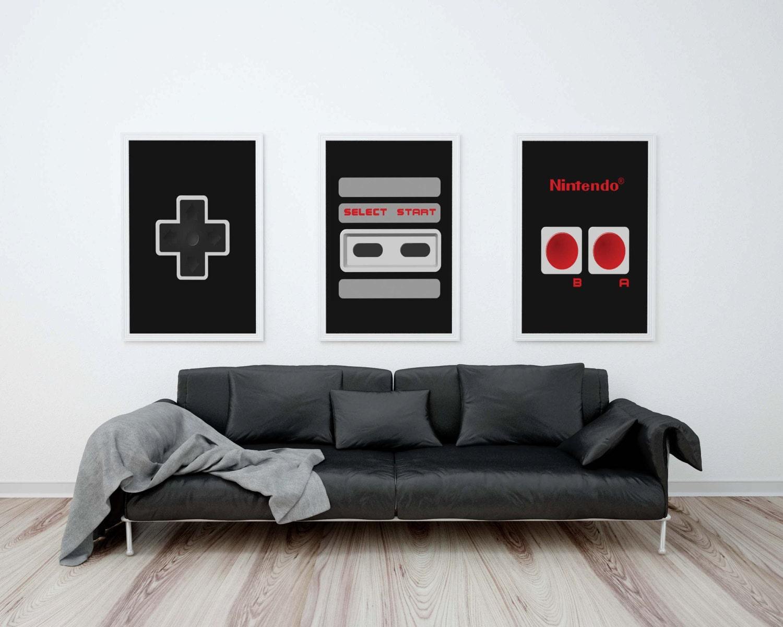 Nintendo Wall Art nintendo controller posters set nintendo art nes controller