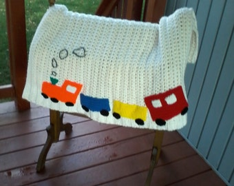 Crochet baby afghan with  trains