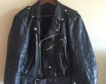 1970's German Leather Motorcycle Jacket. Punk Jacket.